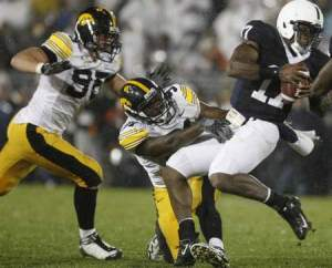 Iowa's defense pressured Penn State QB Clark all night